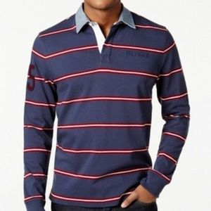 Tommy Hilfiger Navy Men's Striped Polo Rugby Shirt